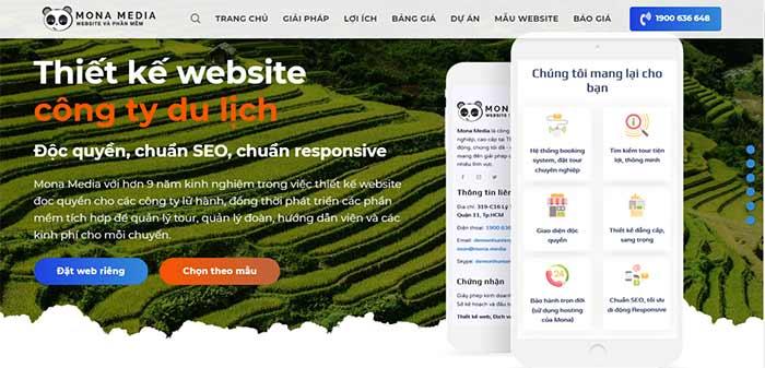 Thiết kế website du lịch Mona Media